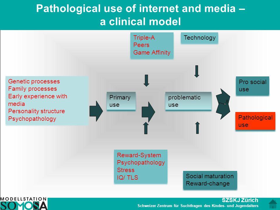 SZSKJ Zürich Schweizer Zentrum für Suchtfragen des Kindes- und Jugendalters Pathological use of internet and media – a clinical model Genetic processe
