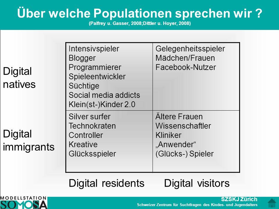 SZSKJ Zürich Schweizer Zentrum für Suchtfragen des Kindes- und Jugendalters Über welche Populationen sprechen wir ? (Palfrey u. Gasser, 2008;Dittler u