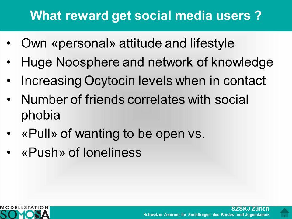 SZSKJ Zürich Schweizer Zentrum für Suchtfragen des Kindes- und Jugendalters What reward get social media users ? Own «personal» attitude and lifestyle
