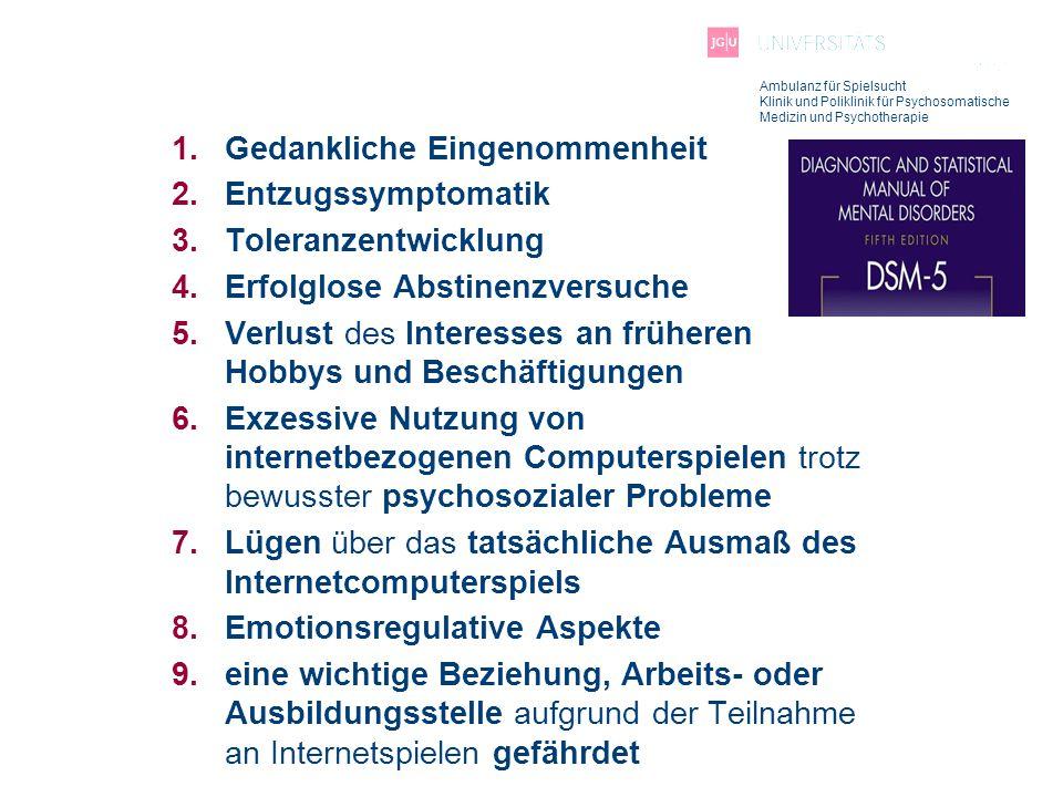 Ambulanz für Spielsucht Klinik und Poliklinik für Psychosomatische Medizin und Psychotherapie 1.Gedankliche Eingenommenheit 2.Entzugssymptomatik 3.Tol
