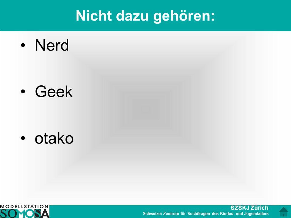 SZSKJ Zürich Schweizer Zentrum für Suchtfragen des Kindes- und Jugendalters Nicht dazu gehören: Nerd Geek otako