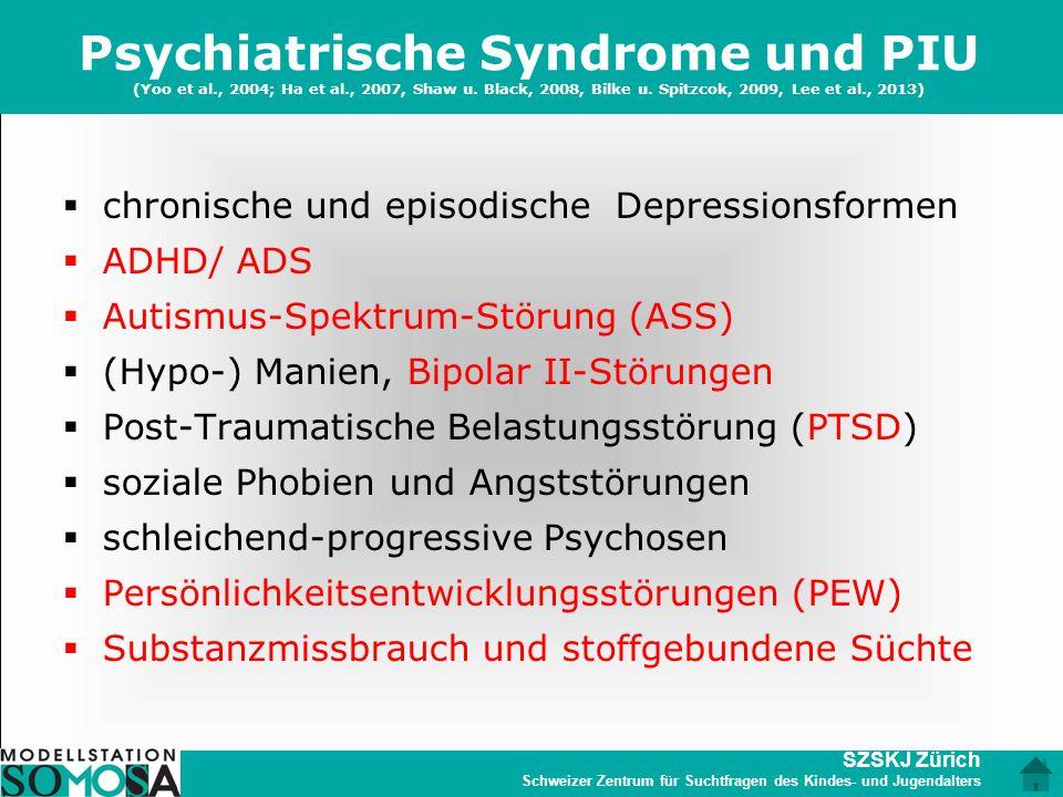 SZSKJ Zürich Schweizer Zentrum für Suchtfragen des Kindes- und Jugendalters Psychiatrische Syndrome und PIU (Yoo et al., 2004; Ha et al., 2007, Shaw u