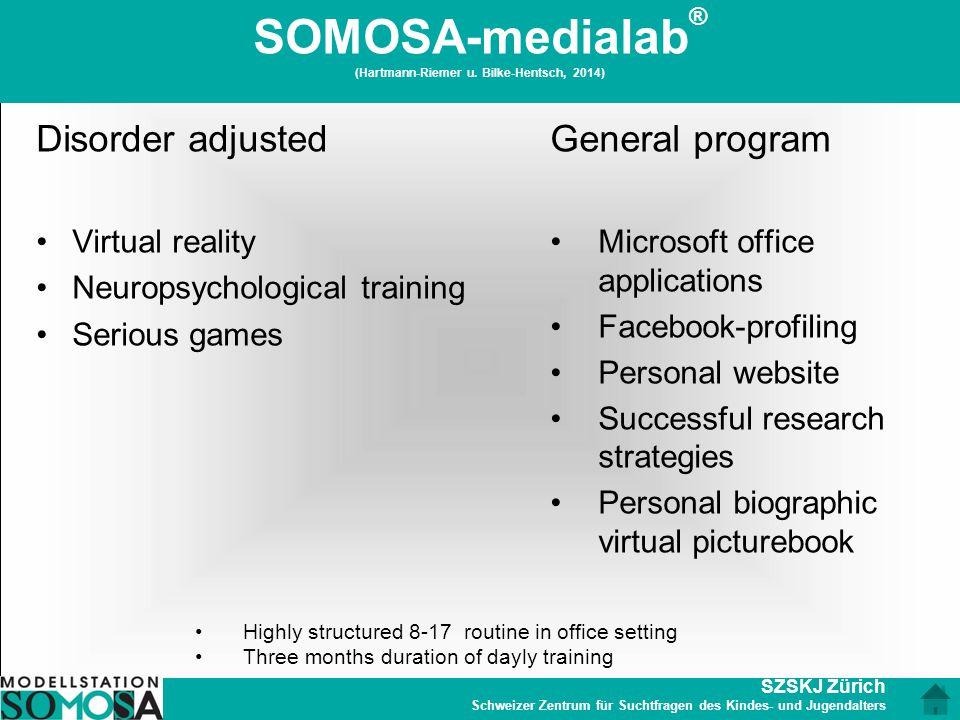 SZSKJ Zürich Schweizer Zentrum für Suchtfragen des Kindes- und Jugendalters SOMOSA-medialab ® (Hartmann-Riemer u. Bilke-Hentsch, 2014) Disorder adjust