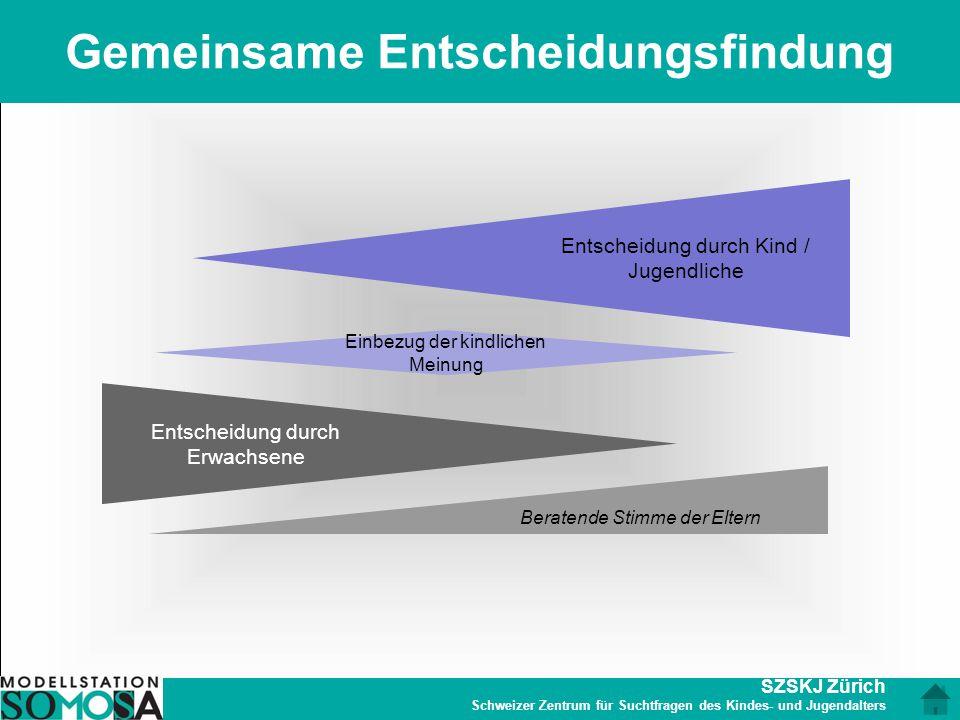 SZSKJ Zürich Schweizer Zentrum für Suchtfragen des Kindes- und Jugendalters Gemeinsame Entscheidungsfindung Entscheidung durch Erwachsene Entscheidung