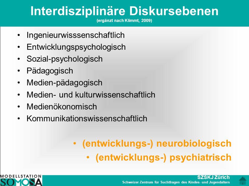 SZSKJ Zürich Schweizer Zentrum für Suchtfragen des Kindes- und Jugendalters Interdisziplinäre Diskursebenen (ergänzt nach Klimmt, 2009) Ingenieurwisss