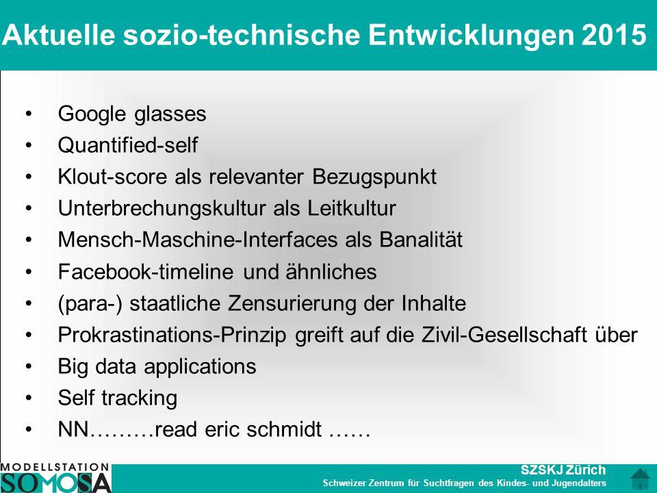 SZSKJ Zürich Schweizer Zentrum für Suchtfragen des Kindes- und Jugendalters Aktuelle sozio-technische Entwicklungen 2015 Google glasses Quantified-sel