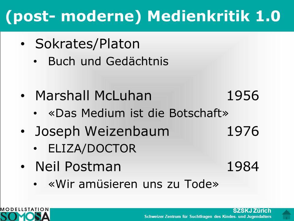 SZSKJ Zürich Schweizer Zentrum für Suchtfragen des Kindes- und Jugendalters (post- moderne) Medienkritik 1.0 Sokrates/Platon Buch und Gedächtnis Marsh