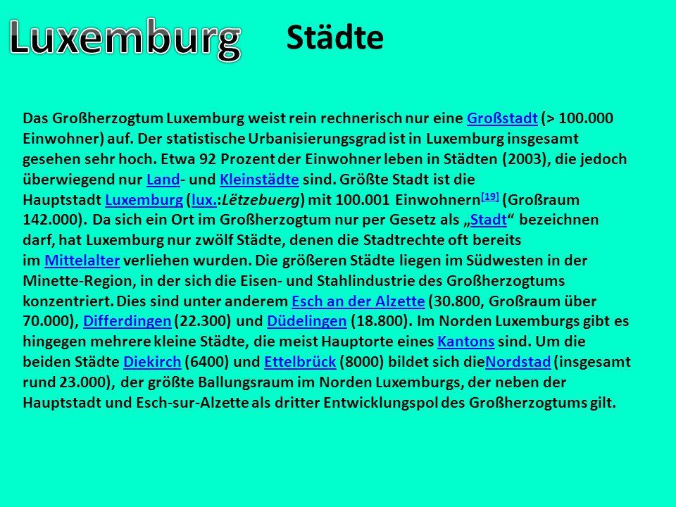 Städte Das Großherzogtum Luxemburg weist rein rechnerisch nur eine Großstadt (> 100.000 Einwohner) auf. Der statistische Urbanisierungsgrad ist in Lux