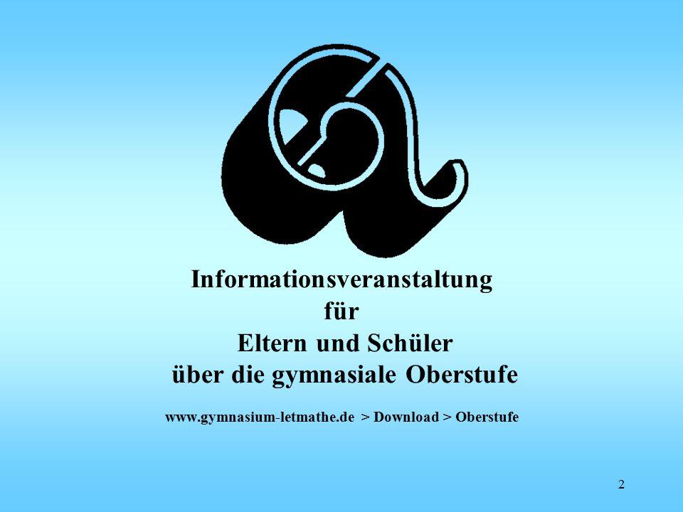 Informationsveranstaltung für Eltern und Schüler über die gymnasiale Oberstufe www.gymnasium-letmathe.de > Download > Oberstufe 2
