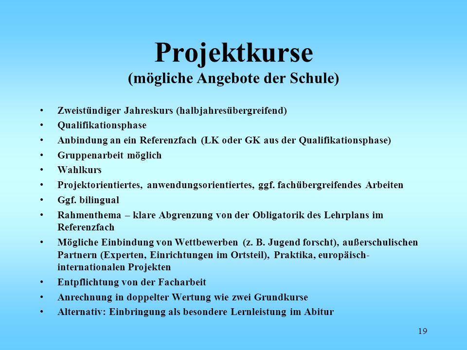Projektkurse (mögliche Angebote der Schule) Zweistündiger Jahreskurs (halbjahresübergreifend) Qualifikationsphase Anbindung an ein Referenzfach (LK od