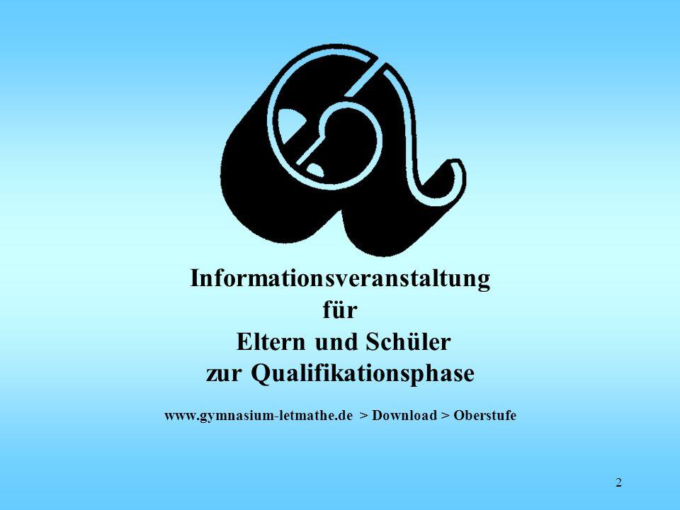 Informationsveranstaltung für Eltern und Schüler zur Qualifikationsphase www.gymnasium-letmathe.de > Download > Oberstufe 2
