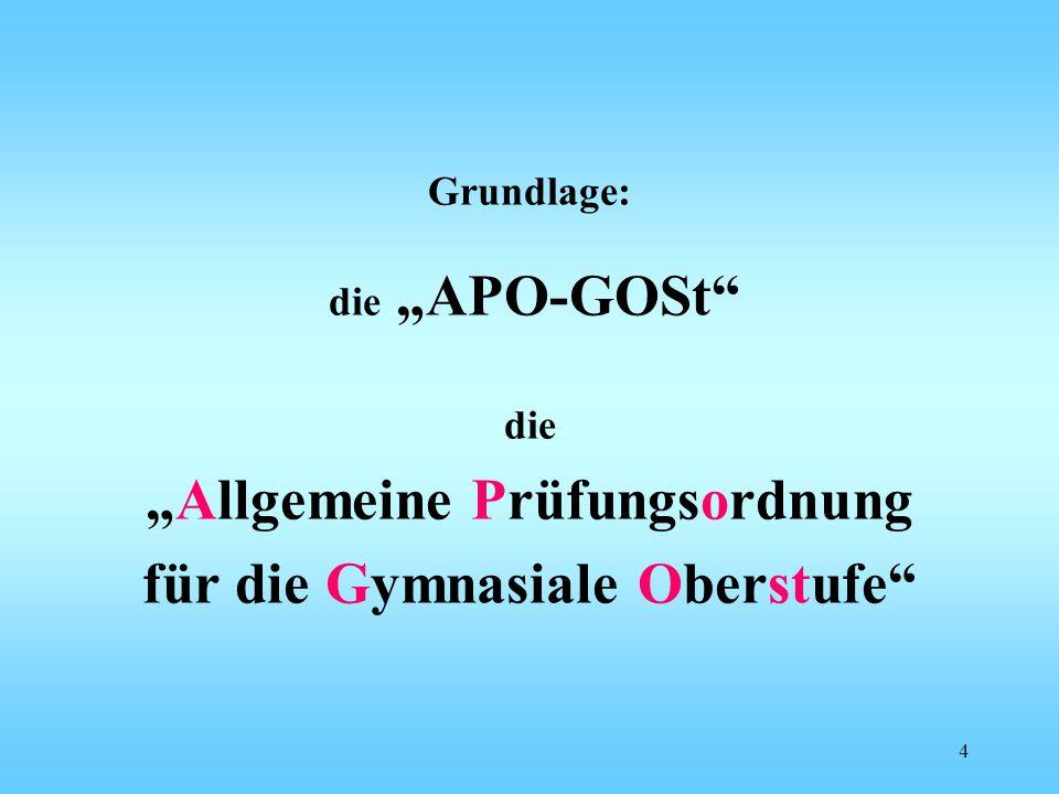 """Grundlage: die """"APO-GOSt"""" die """"Allgemeine Prüfungsordnung für die Gymnasiale Oberstufe"""" 4"""