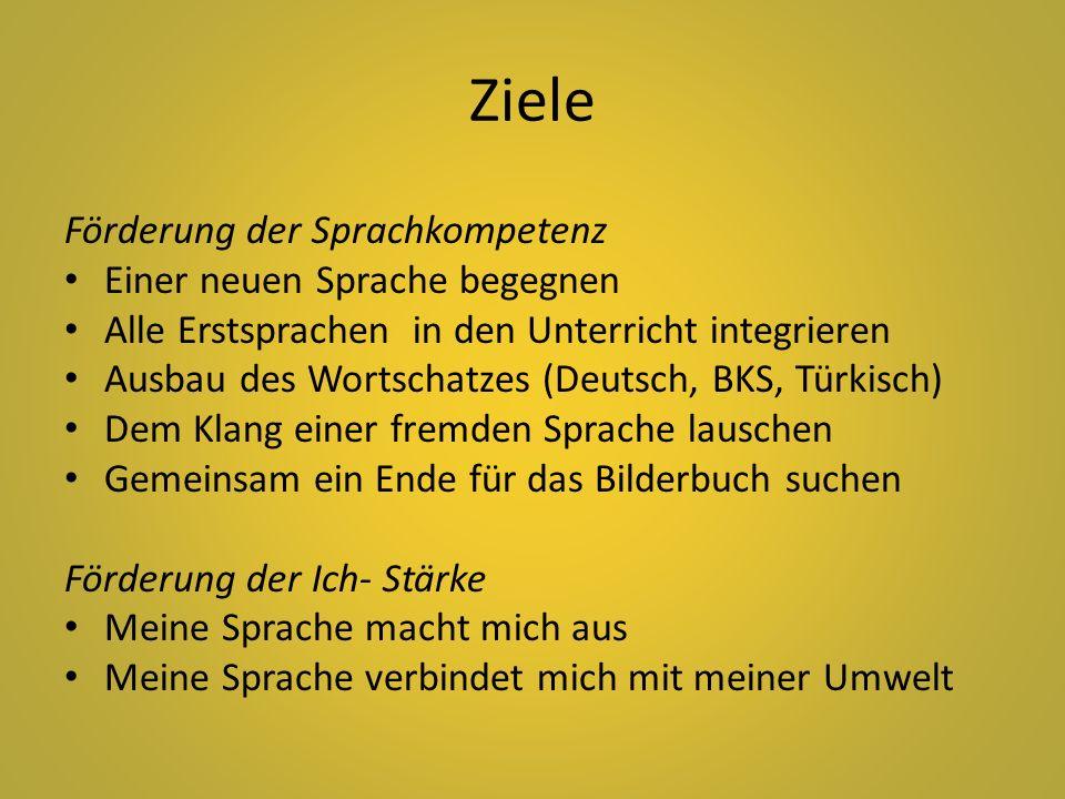Ziele Förderung der Sprachkompetenz Einer neuen Sprache begegnen Alle Erstsprachen in den Unterricht integrieren Ausbau des Wortschatzes (Deutsch, BKS