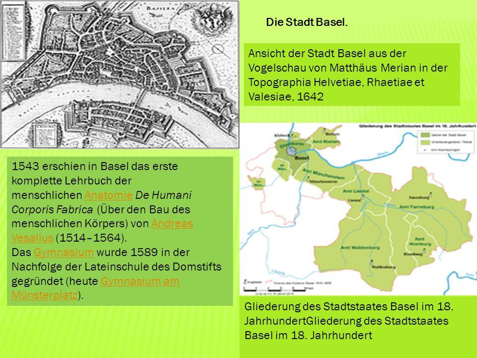 Die Stadt Basel. Ansicht der Stadt Basel aus der Vogelschau von Matthäus Merian in der Topographia Helvetiae, Rhaetiae et Valesiae, 1642 Gliederung de