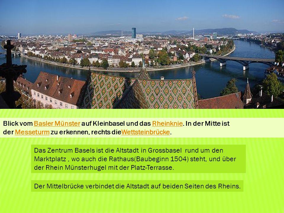 Blick vom Basler Münster auf Kleinbasel und das Rheinknie. In der Mitte ist der Messeturm zu erkennen, rechts dieWettsteinbrücke.Basler MünsterRheinkn