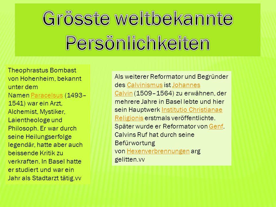 Theophrastus Bombast von Hohenheim, bekannt unter dem Namen Paracelsus (1493– 1541) war ein Arzt, Alchemist, Mystiker, Laientheologe und Philosoph. Er