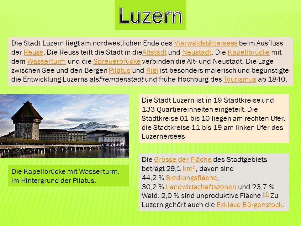 Die Stadt Luzern liegt am nordwestlichen Ende des Vierwaldstättersees beim Ausfluss der Reuss. Die Reuss teilt die Stadt in dieAltstadt und Neustadt.