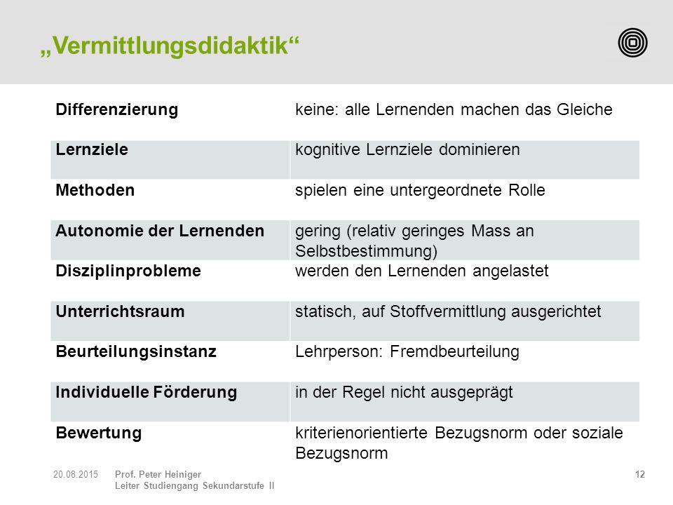Prof. Peter Heiniger Leiter Studiengang Sekundarstufe II 1220.08.2015 Differenzierungkeine: alle Lernenden machen das Gleiche Lernzielekognitive Lernz