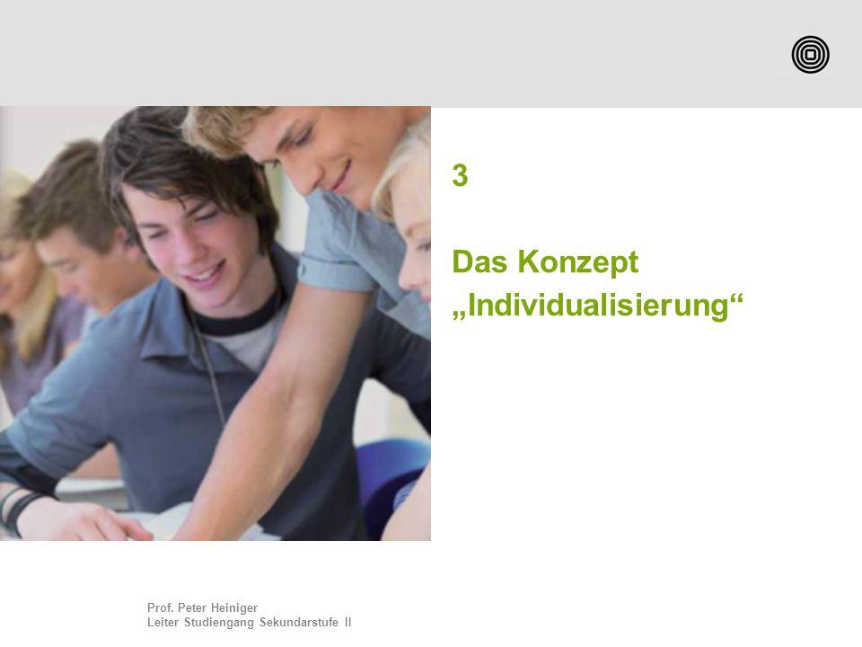 "Prof. Peter Heiniger Leiter Studiengang Sekundarstufe II 3 Das Konzept ""Individualisierung"""