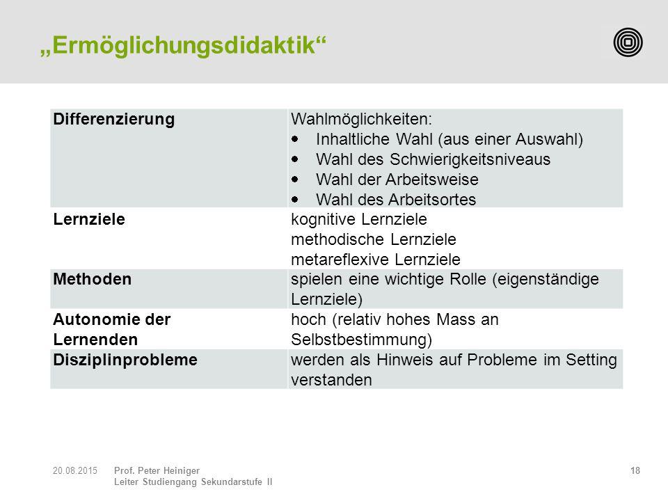 Prof. Peter Heiniger Leiter Studiengang Sekundarstufe II 1820.08.2015 DifferenzierungWahlmöglichkeiten:  Inhaltliche Wahl (aus einer Auswahl)  Wahl