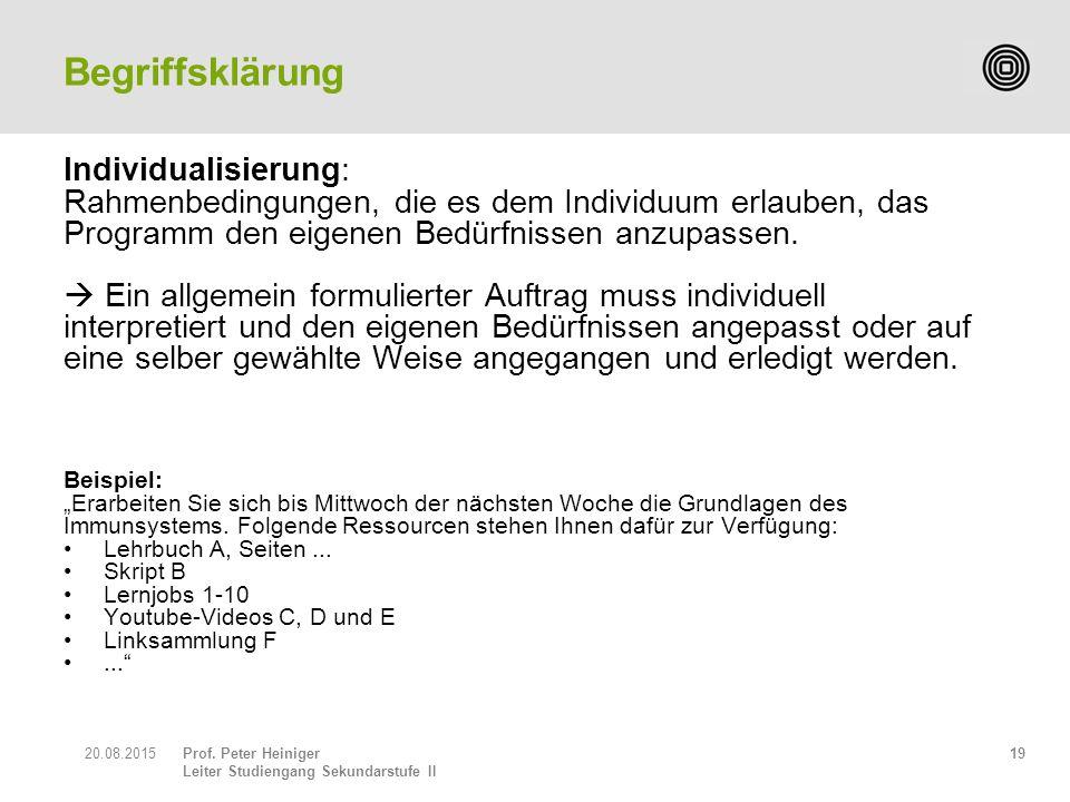 Prof. Peter Heiniger Leiter Studiengang Sekundarstufe II Individualisierung: Rahmenbedingungen, die es dem Individuum erlauben, das Programm den eigen