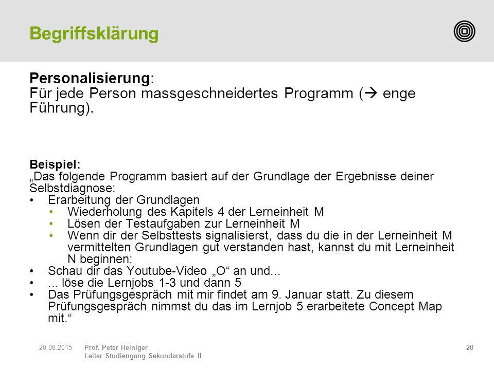 """Prof. Peter Heiniger Leiter Studiengang Sekundarstufe II Personalisierung: Für jede Person massgeschneidertes Programm (  enge Führung). Beispiel: """"D"""