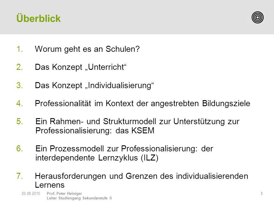 """Prof. Peter Heiniger Leiter Studiengang Sekundarstufe II 1.Worum geht es an Schulen? 2.Das Konzept """"Unterricht"""" 3.Das Konzept """"Individualisierung"""" 4."""