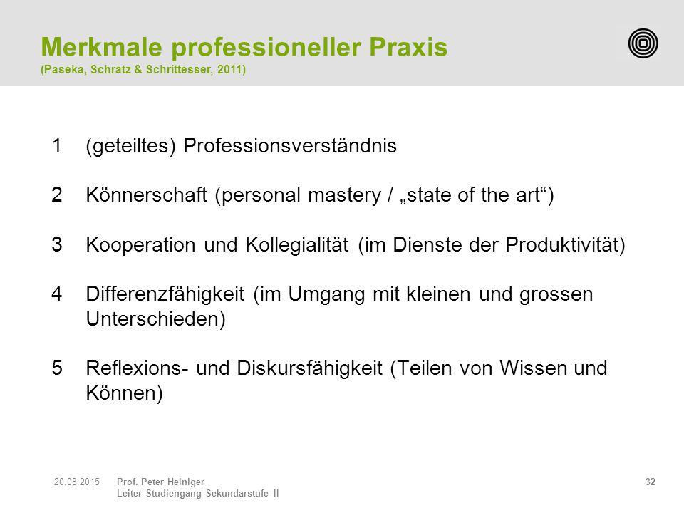"Prof. Peter Heiniger Leiter Studiengang Sekundarstufe II 3220.08.2015 1(geteiltes) Professionsverständnis 2Könnerschaft (personal mastery / ""state of"