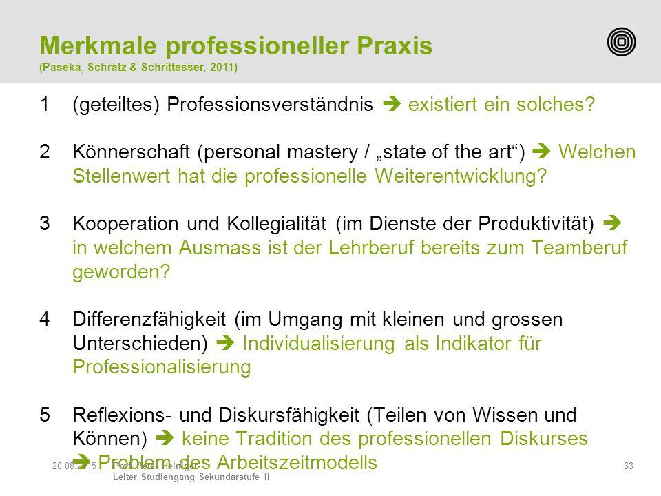 Prof. Peter Heiniger Leiter Studiengang Sekundarstufe II 3320.08.2015 1(geteiltes) Professionsverständnis  existiert ein solches? 2Könnerschaft (pers