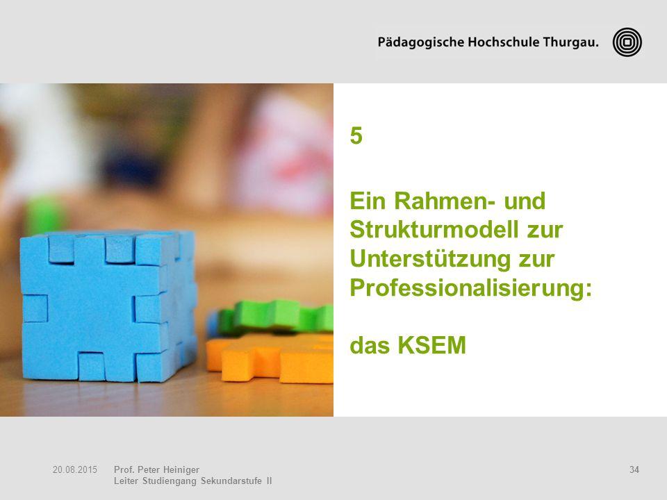 Prof. Peter Heiniger Leiter Studiengang Sekundarstufe II 3420.08.2015 5 Ein Rahmen- und Strukturmodell zur Unterstützung zur Professionalisierung: das