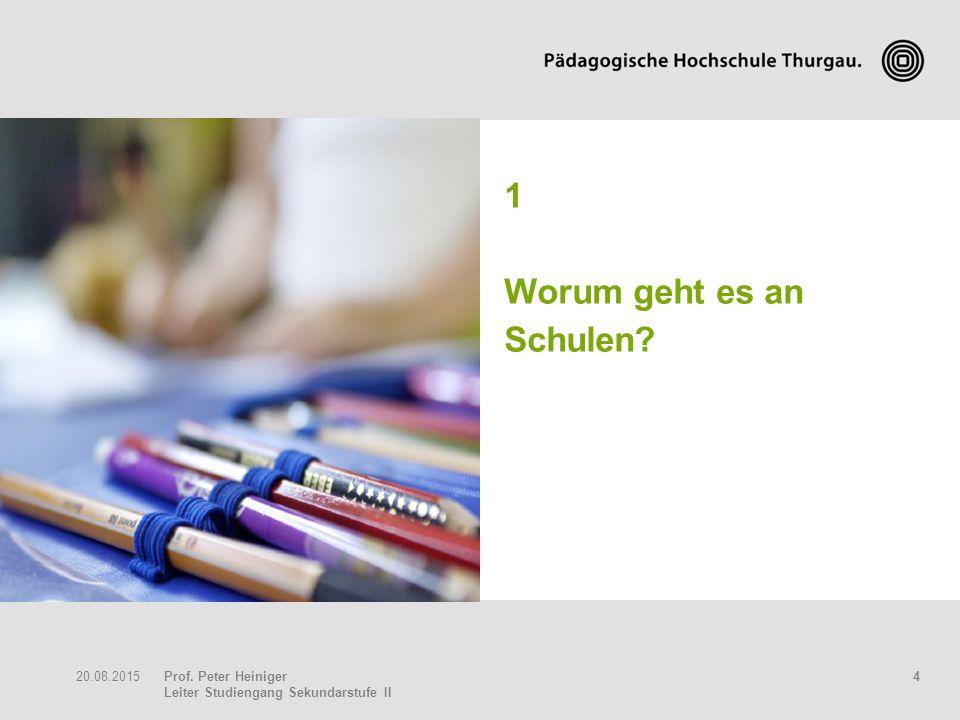 Prof. Peter Heiniger Leiter Studiengang Sekundarstufe II 420.08.2015 1 Worum geht es an Schulen?