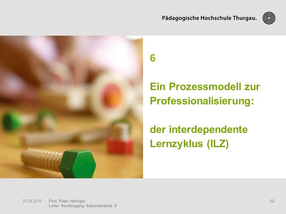 Prof. Peter Heiniger Leiter Studiengang Sekundarstufe II 6220.08.2015 6 Ein Prozessmodell zur Professionalisierung: der interdependente Lernzyklus (IL