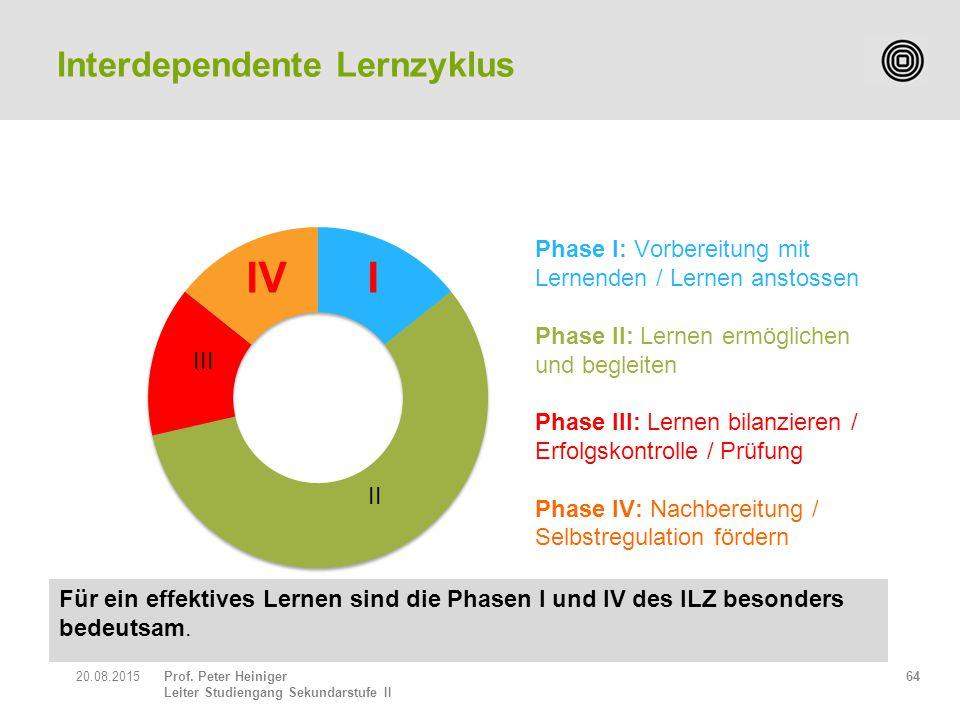 Prof. Peter Heiniger Leiter Studiengang Sekundarstufe II 6420.08.2015 Interdependente Lernzyklus Für ein effektives Lernen sind die Phasen I und IV de