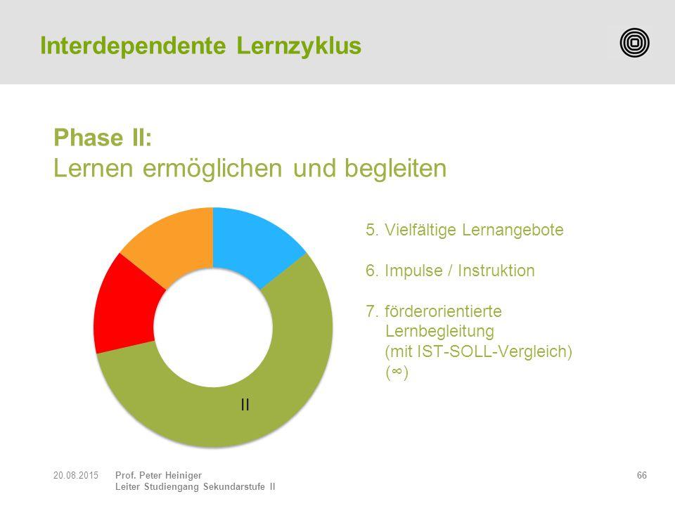 Prof. Peter Heiniger Leiter Studiengang Sekundarstufe II Phase II: Lernen ermöglichen und begleiten 6620.08.2015 Interdependente Lernzyklus II