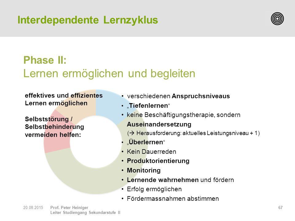"""Prof. Peter Heiniger Leiter Studiengang Sekundarstufe II 6720.08.2015 verschiedenen Anspruchsniveaus """" Tiefenlernen """" keine Beschäftigungstherapie, so"""