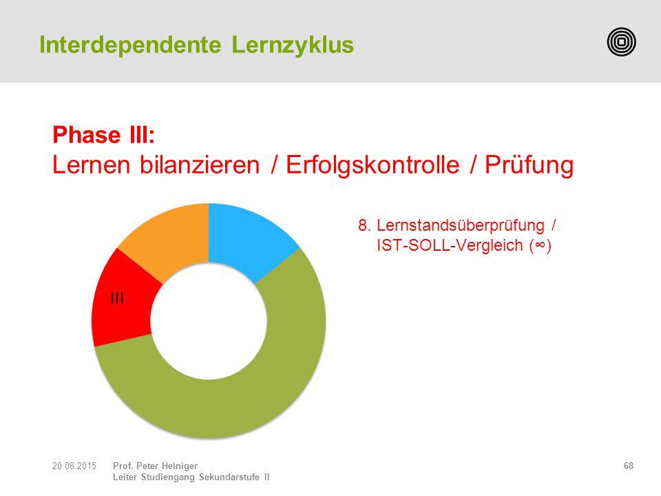 Prof. Peter Heiniger Leiter Studiengang Sekundarstufe II Phase III: Lernen bilanzieren / Erfolgskontrolle / Prüfung 6820.08.2015 Interdependente Lernz