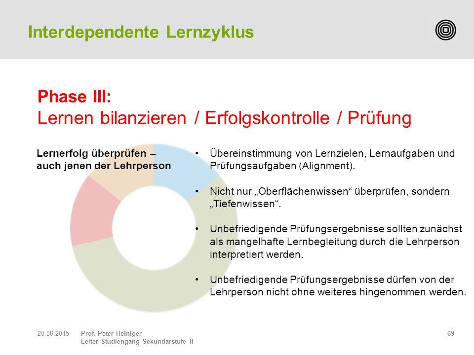 Prof. Peter Heiniger Leiter Studiengang Sekundarstufe II 6920.08.2015 Übereinstimmung von Lernzielen, Lernaufgaben und Prüfungsaufgaben (Alignment). N