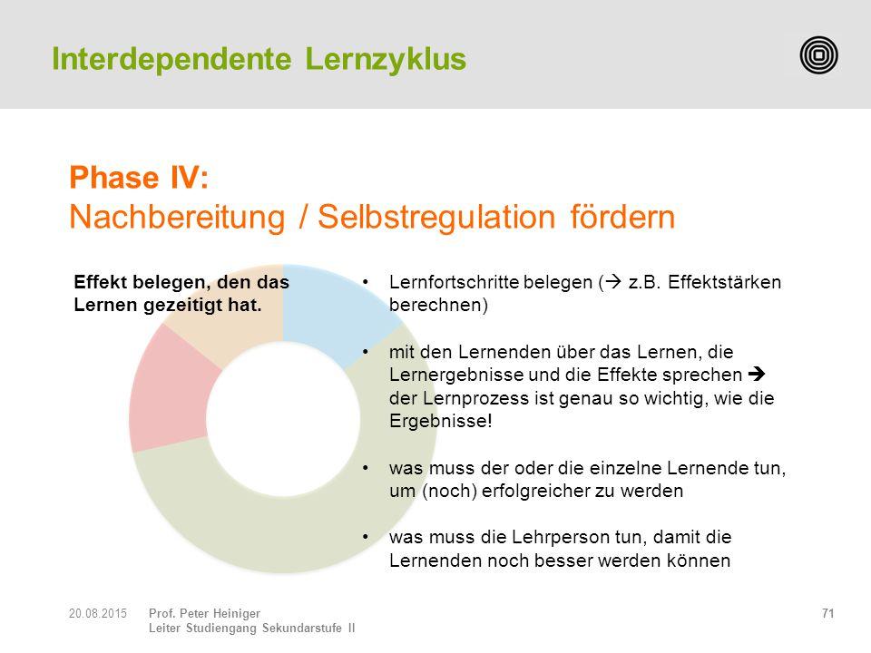 Prof. Peter Heiniger Leiter Studiengang Sekundarstufe II 7120.08.2015 Interdependente Lernzyklus Effekt belegen, den das Lernen gezeitigt hat. Phase I