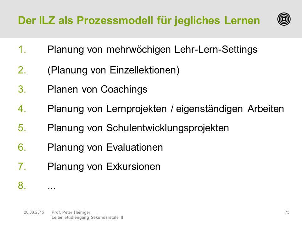 Prof. Peter Heiniger Leiter Studiengang Sekundarstufe II 1.Planung von mehrwöchigen Lehr-Lern-Settings 2. (Planung von Einzellektionen) 3.Planen von C