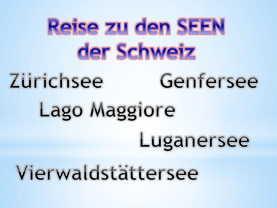 Die grössten Seen der Schweiz: Genfersee- 583,3Km2, liegt in der Grenze mit Frankreich; Bodensee- 536 Km2, liegt in der Grenze mit Deutschland und Ö sterrech; Neuschatelsee-218,3 Km2, liegt in der Schweiz.