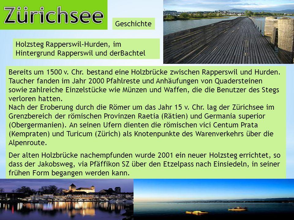 Geschichte Holzsteg Rapperswil–Hurden, im Hintergrund Rapperswil und derBachtel Bereits um 1500 v.