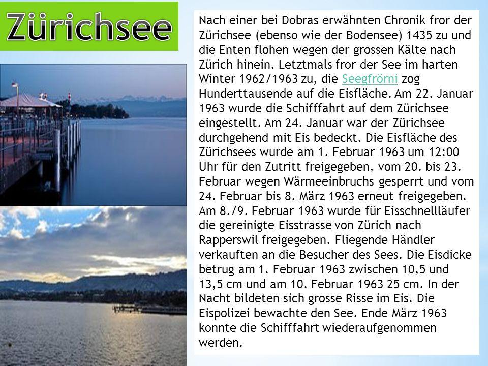 Nach einer bei Dobras erwähnten Chronik fror der Zürichsee (ebenso wie der Bodensee) 1435 zu und die Enten flohen wegen der grossen Kälte nach Zürich hinein.