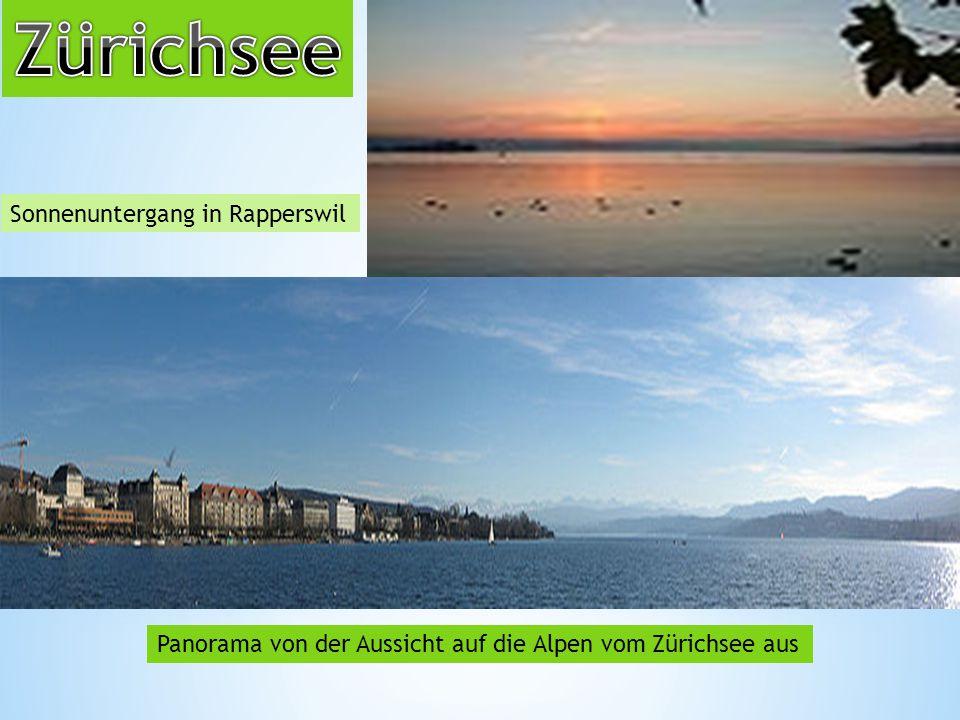 Sonnenuntergang in Rapperswil Panorama von der Aussicht auf die Alpen vom Zürichsee aus
