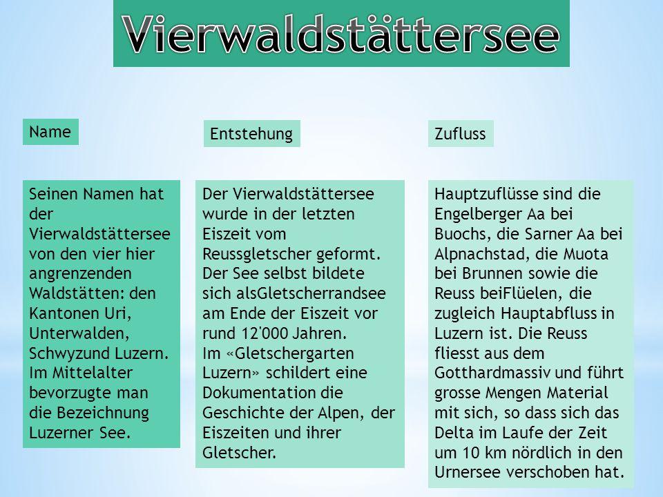 Seinen Namen hat der Vierwaldstättersee von den vier hier angrenzenden Waldstätten: den Kantonen Uri, Unterwalden, Schwyzund Luzern.
