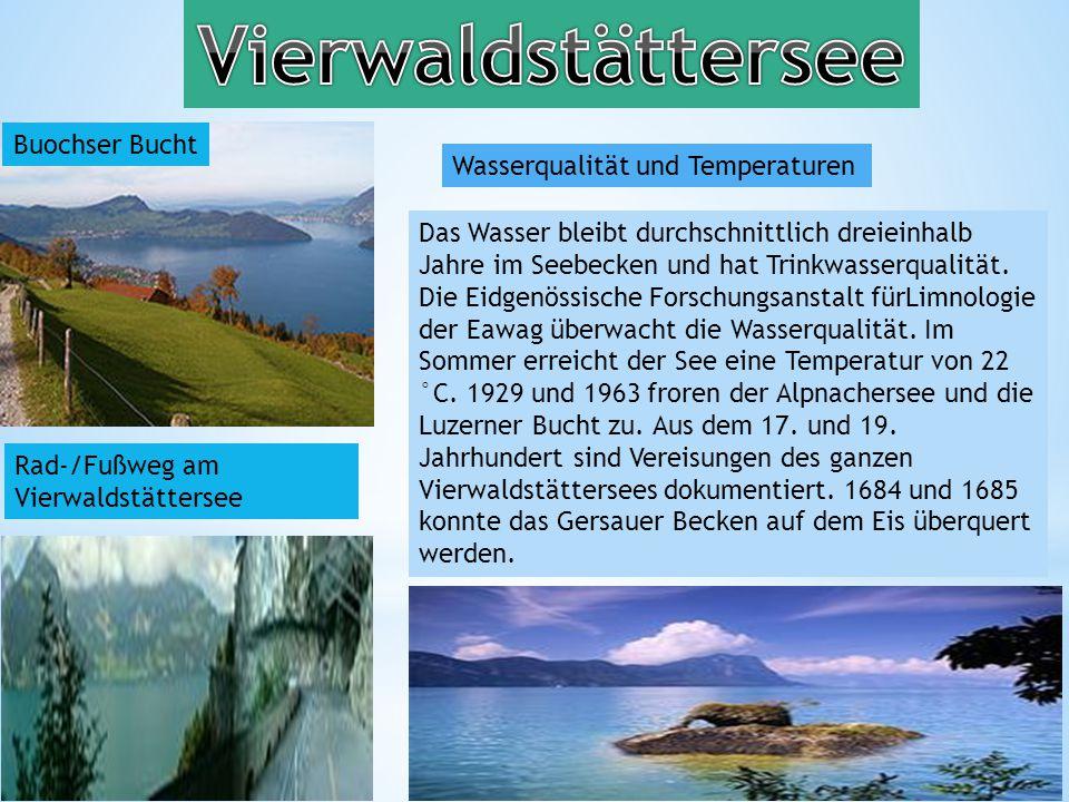 Buochser Bucht Rad-/Fußweg am Vierwaldstättersee Wasserqualität und Temperaturen Das Wasser bleibt durchschnittlich dreieinhalb Jahre im Seebecken und hat Trinkwasserqualität.