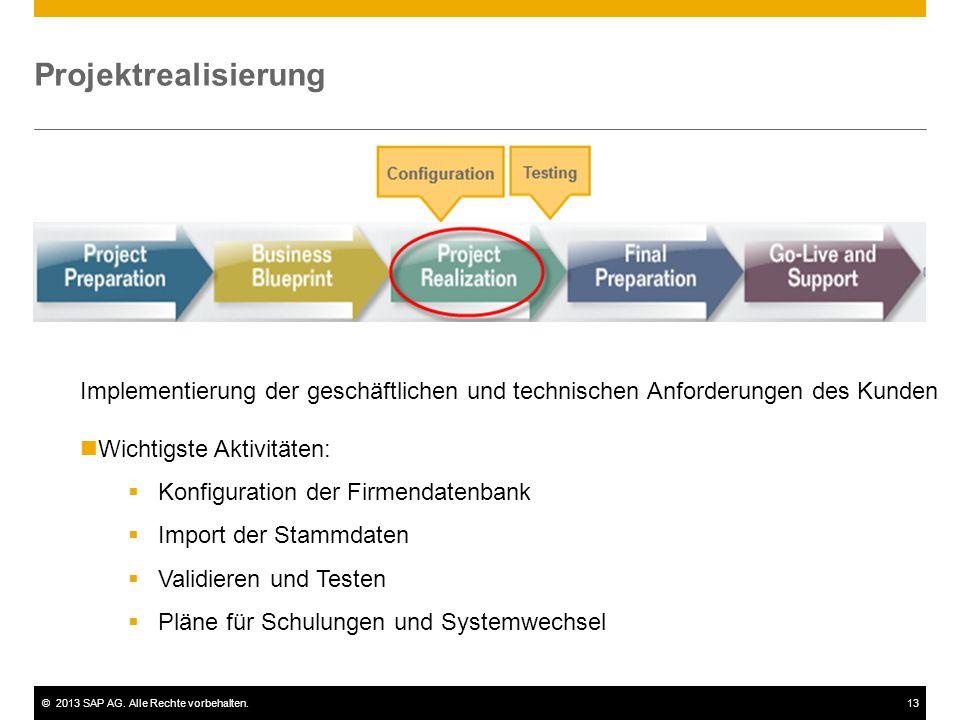 ©2013 SAP AG. Alle Rechte vorbehalten.13 Projektrealisierung Implementierung der geschäftlichen und technischen Anforderungen des Kunden Wichtigste Ak