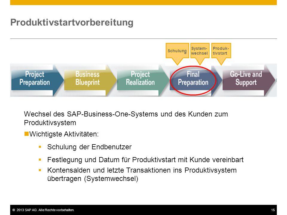 ©2013 SAP AG. Alle Rechte vorbehalten.15 Produktivstartvorbereitung System- wechsel Wechsel des SAP-Business-One-Systems und des Kunden zum Produktivs