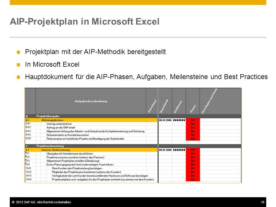 ©2013 SAP AG. Alle Rechte vorbehalten.19 AIP-Projektplan in Microsoft Excel Projektplan mit der AIP-Methodik bereitgestellt In Microsoft Excel Hauptdo