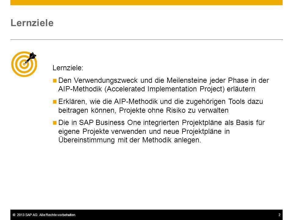 ©2013 SAP AG. Alle Rechte vorbehalten.2 Lernziele: Den Verwendungszweck und die Meilensteine jeder Phase in der AIP-Methodik (Accelerated Implementati