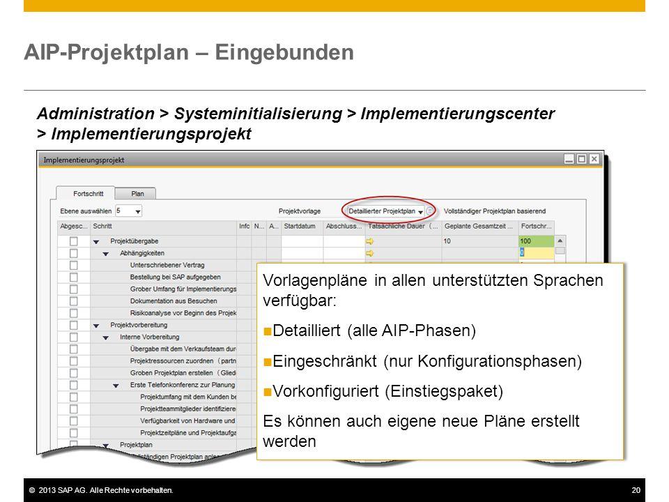 ©2013 SAP AG. Alle Rechte vorbehalten.20 AIP-Projektplan – Eingebunden Administration > Systeminitialisierung > Implementierungscenter > Implementieru